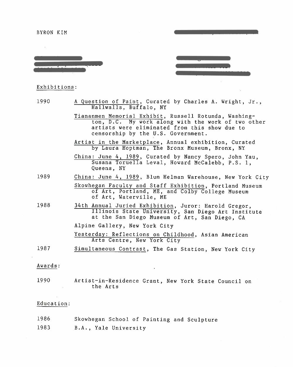 Byron Kim's Resume